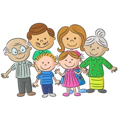Complete family care of parents with vector image