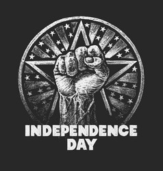 independence day chalk drawing on textured vector image vector image