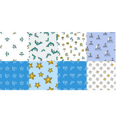 set of summer seamless patterns vector image vector image