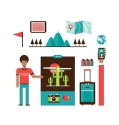 Tourism and travel Set of modern flat design vector image
