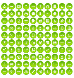 100 development icons set green circle vector