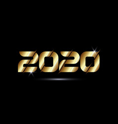 2020 golden colour text isolated on black vector