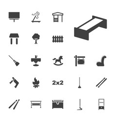 22 wood icons vector