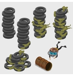 Abandoned car tires barrel and diver vector