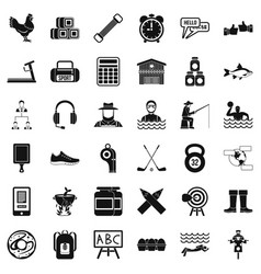 Activity icons set simple style vector