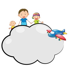 An empty cloud callout with a family and a plane vector