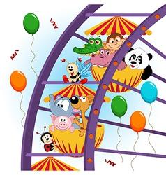 Animals on ferris wheel vector