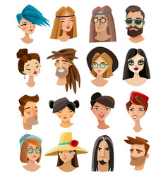 avatars set in cartoon style vector image