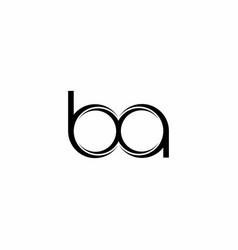 Ba logo monogram with slice rounded modern design vector