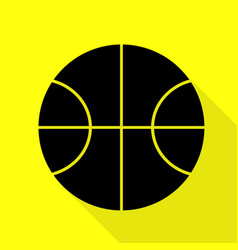 basketball ball sign black icon with vector image vector image