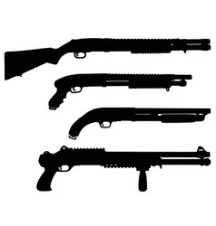 Black silhouettes of shotguns vector