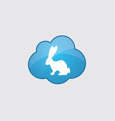 Blue cloud rabbit icon vector