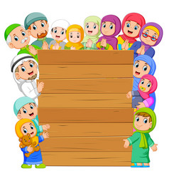 board with muslim family around vector image