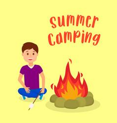 boy roasting marshmallow on bonfire vector image