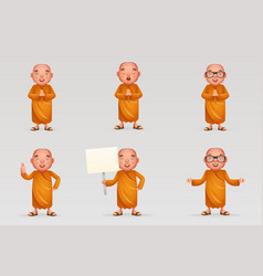 buddhist cute monk traditional asian vector image