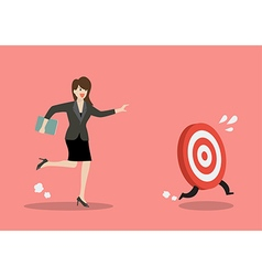 Business woman try to catch target vector