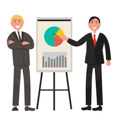 Businessmen make presentation and explain diagram vector