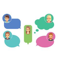 call center operators support avatars online vector image