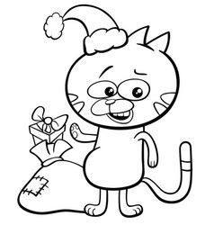 Cat on christmas coloring book vector