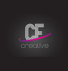 Cf c f letter logo with lines design and purple vector