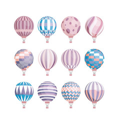 colorful collection various hot air balloons vector image
