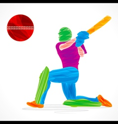Colorful cricket player hit big ball sketch vector