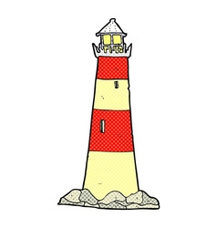 Comic cartoon light house vector