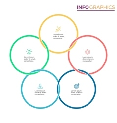 Connected circles for infographics Chart with 5 vector image