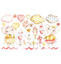 cute elephant baby girl watercolor nursery vector image