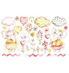 Cute elephant bagirl watercolor nursery vector