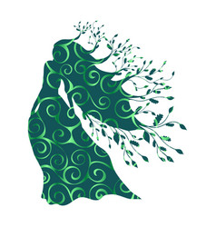 dryad nymph forest pattern silhouette ancient vector image