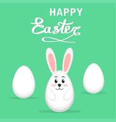easter rabbit and eggs on green background happy vector image