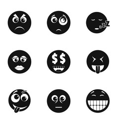 Emoji face icons set simple style vector