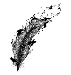 feather with birds and music notes vector image