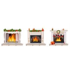 fireplace set collection with christmas decor vector image