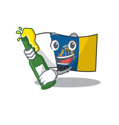 Flag canary island scroll with bottle beer vector
