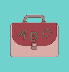 Flat icon thin lines school bag vector