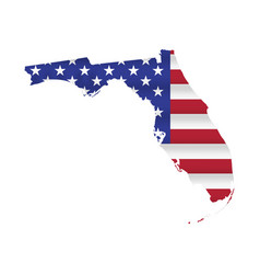 Florida us state flag map isolated vector