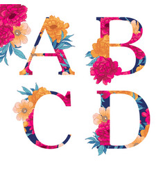 flower alphabet vector image