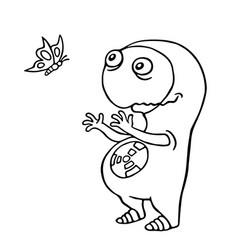 Friendly space alien enjoy butterfly vector