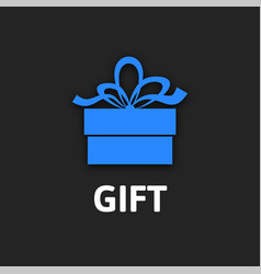 Gift box icon with ribbon flat design vector