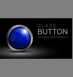 Glass blue button vector