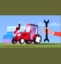 hand hold spanner over tractor plowing field eco vector image