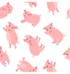 happy cartoon pink pigs pattern vector image