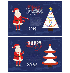 happy holidays and merry christmas greeting cards vector image