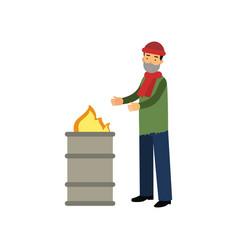 Homeless man warming himself near the fire vector