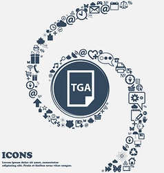 Image File type Format TGA icon in the center vector image