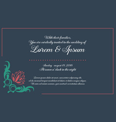 Invitation with flower for wedding collection vector