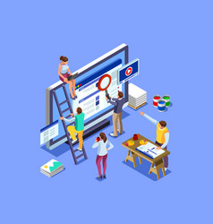 Isometric people images seo vector