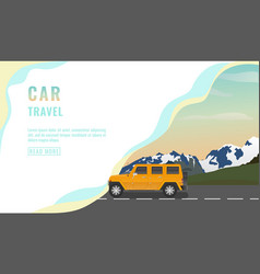 landing page design banner with jeep car travel vector image